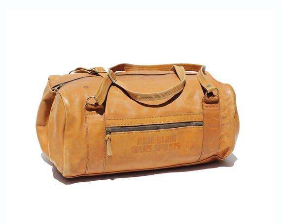 Vintage Men s Tan Leather Weekend Travel Duffel Bag  2cf84dafc1d0f