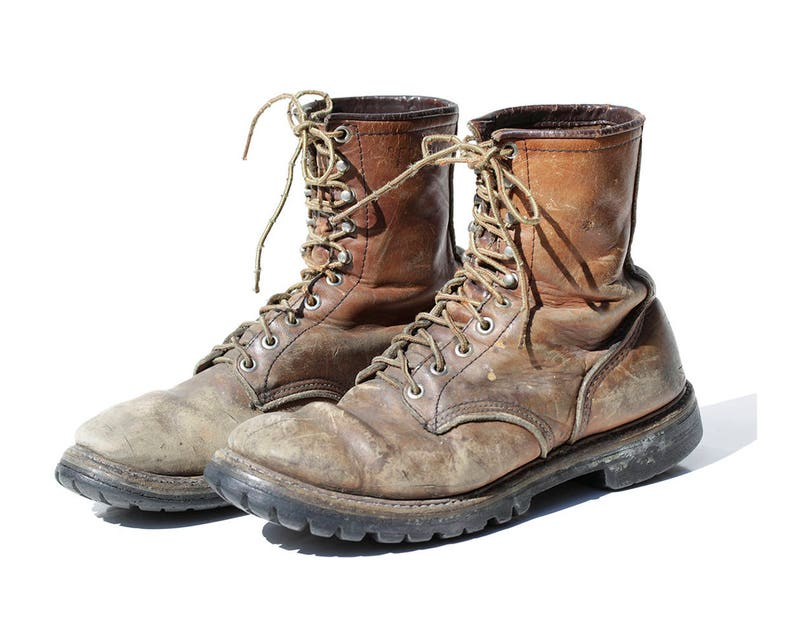 caa1473b5bb6c Size: 10.5 /Vintage Men's Super Worn In Distressed Brown Leather Work Boots