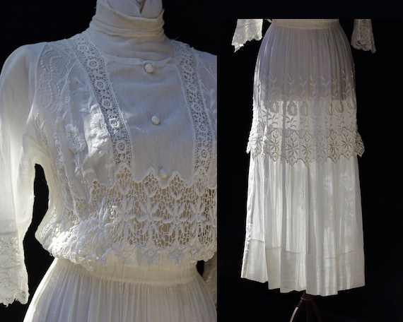 Edwardian White Cotton Dress / Embroidered Lace A… - image 1