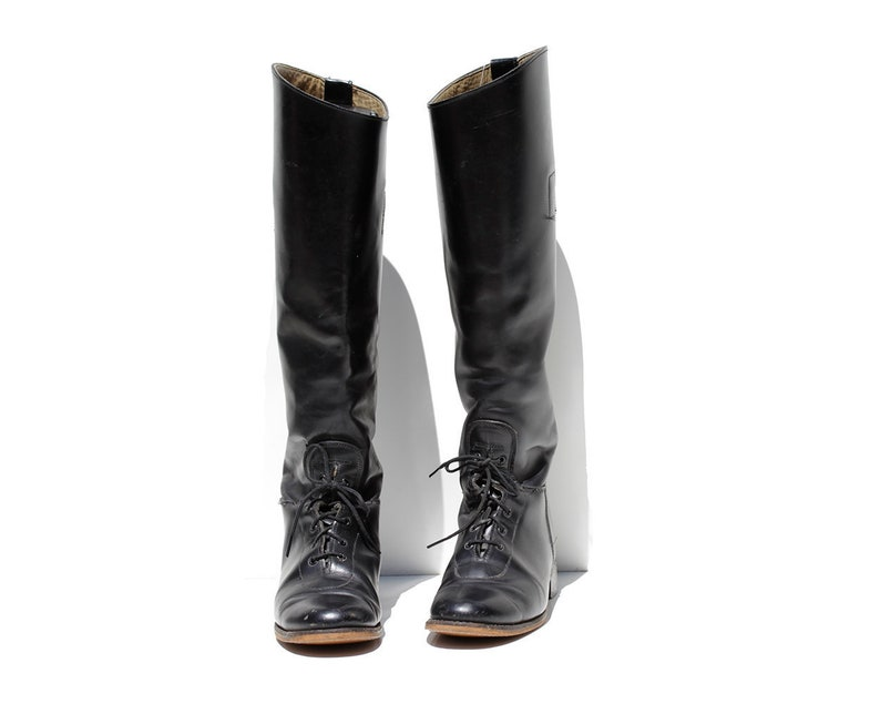 Black Leather Knee High Riding Boots