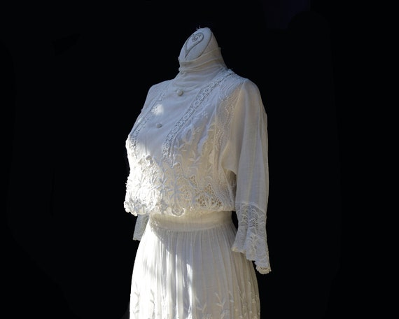 Edwardian White Cotton Dress / Embroidered Lace A… - image 5