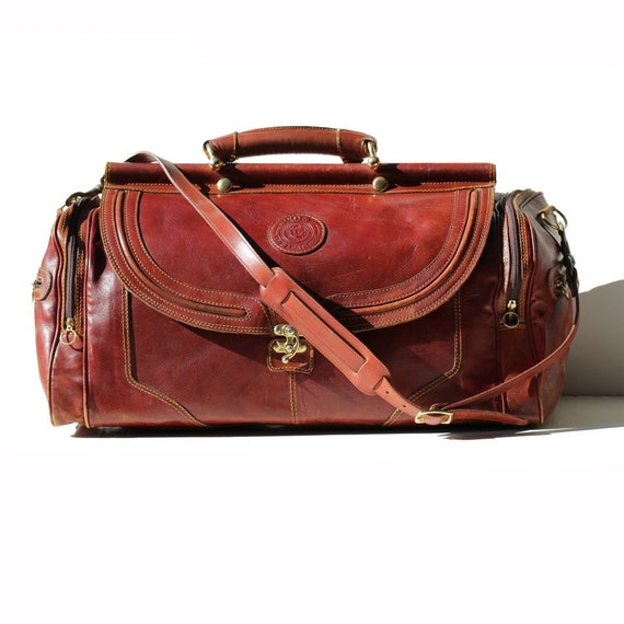 Vintage Townsend Harbor Brown Leather Travel Duffel Bag ST140