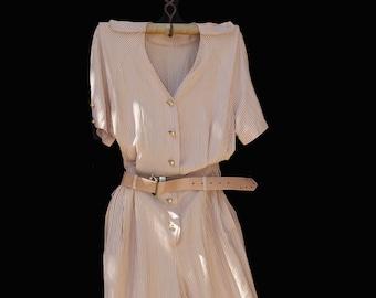 Vintage Cotton Apricot & White Stripe Jumpsuit