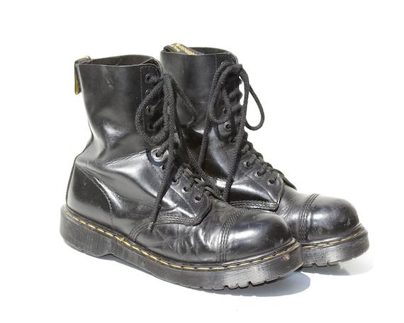 b92d5843d965b Vintage Men's Black Leather Steel Toe Boots / size 10