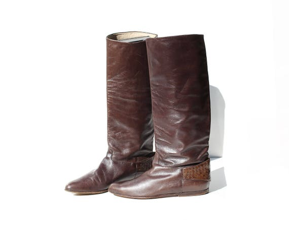 fdbcea8511759 Vintage Dark Brown Leather Pull On Tall Knee High Boots / size 6