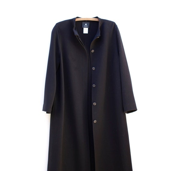 Vintage Italy Black Wool Stylish Maxi Coat