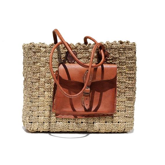 Straw Woven Leather Shoulder Hobo Bag (SW 190)