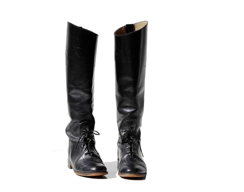 62d3b4072c5 Vintage Women s Black Leather Knee High Riding Boots