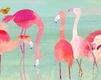"Flamingos, children's art, illustration, wall art, room decor, birds, tropical birds 11"" x 14"""