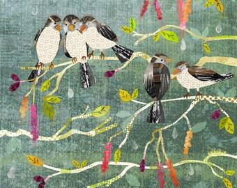 House Sparrows Giclee Art Print 11x14