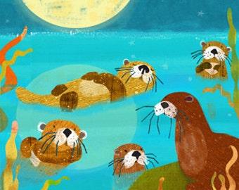 Otter Friends 11x14 Archival Print - art poster - wall decor - children's wall art - nursery poster