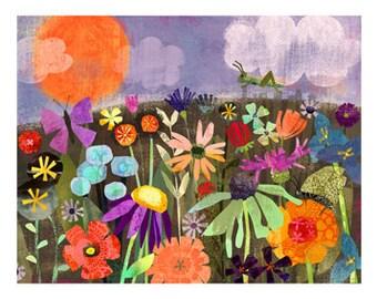 """Cricket Garden 11""""x14"""" Archival Print - art poster - wall decor - children's wall art - nursery poster"""