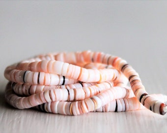 Luhanus Shell Heishi Beads Ivory Peach Brown Mix 3mm