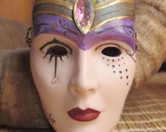 Hand China Painted Porcelain Mini Mask - Mask Collection - Doll Mask - Embellished Mini Mask - Possible Jewelry Pendant