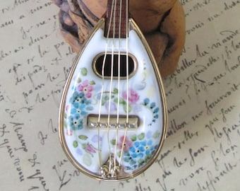 Little Mandolin China Painted Porcelain and Wood Tone Plastic Minature Mandolin -  Forget-Me-Nots & Roses - Mandolin Collection