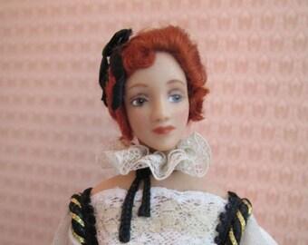 Miniature Porcelain Dollhouse Doll in 1:12th scale - Cosette, French Fashion OOAK Lady Art Doll By Diane Taylor La Boheme Doll Studio