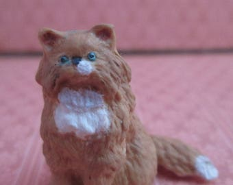 1:12th Scale Porcelain Dollhouse Cat - Orange and White Long Haired Cat - Cast Porcelain Hand Painted Dollhouse Size Cat