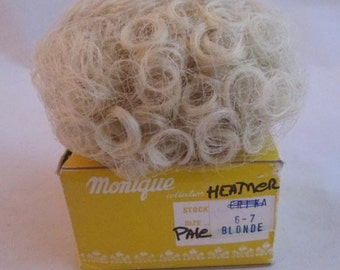 PALE BLOND Heather Doll Wig Size 6/7  From Monique Trading Corp. New In Box  Will Fit BJD