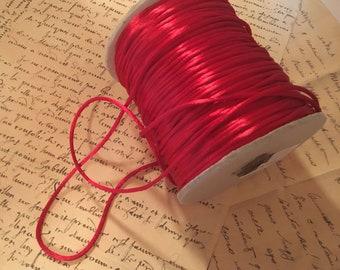 Vibrant Vintage Silk Satin Rattail 2mm Cording - Thin Cording - Silky Red Satin Cording Roll - Sewing or Jewelry Making Judi & Co. NY