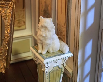1:12th Scale Hand Cast Porcelain Dollhouse Cat - Solid White Unpainted Long Haired Cat - Cast Porcelain Dollhouse Size Cat Project to Paint