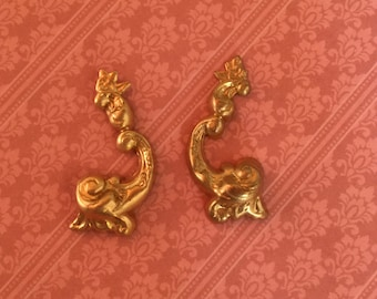 Raw Brass French Flourish Rococo Stampings - Brass DIY French Style Stamping Perfect for DIY Mixed Media Art Or Jewelry Making