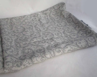 """New Old Stock Gray Scrolled Print Fabric Stunning Unknown Blend Doll Costume Pillow Making Fabric Remnant 36"""" x 54"""""""