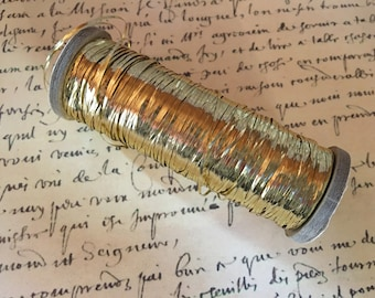 2 Yds Vintage French Tinsel Antique French - Lightweight  Flat Tinsel for Doll Embellishment or Fishing Fly Tying