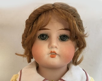 Antique Armand Marseille Bisque Doll with Kid Leather Cork Stuffed Body - 17.5 inch - Lissy 7/0 Bisque German Doll