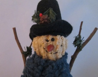 Vintage Soft Sculpture Homespun Chenille Snowman Twig Arms Homespun Christmas 14 inch Chenille Snowman