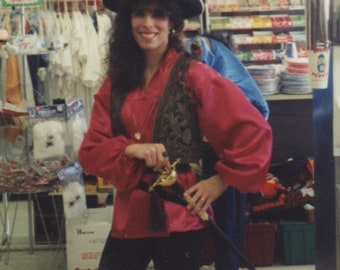 Women's Renaissance Pirate Blouse - Fuschia colored Satiny Pirate Blouse - Small Blouse Pirate Costume  Roll Playing Costume Blouse