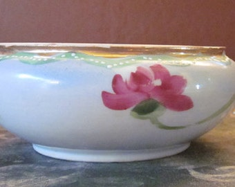 Vintage Hand Painted Bowl - Rose Colored Flower - Possibly Nippon - Made in Japan