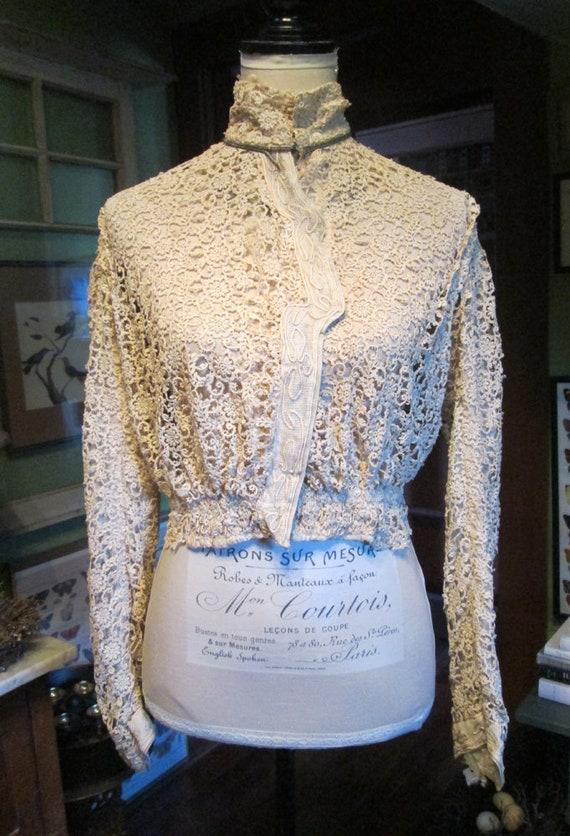 Antique Authentic Edwardian Victorian Lace Blouse