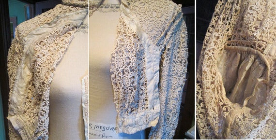 Antique Authentic Edwardian Victorian Lace Blouse… - image 7