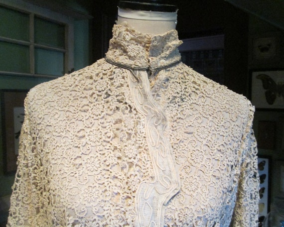 Antique Authentic Edwardian Victorian Lace Blouse… - image 2