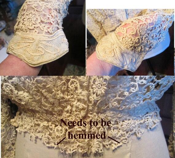 Antique Authentic Edwardian Victorian Lace Blouse… - image 8