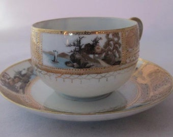 Vintage Nippon Cup and Saucer Hand Painted Asian Scenes - Asian Paneled Saucer and Cup - Raised Gold Gilt