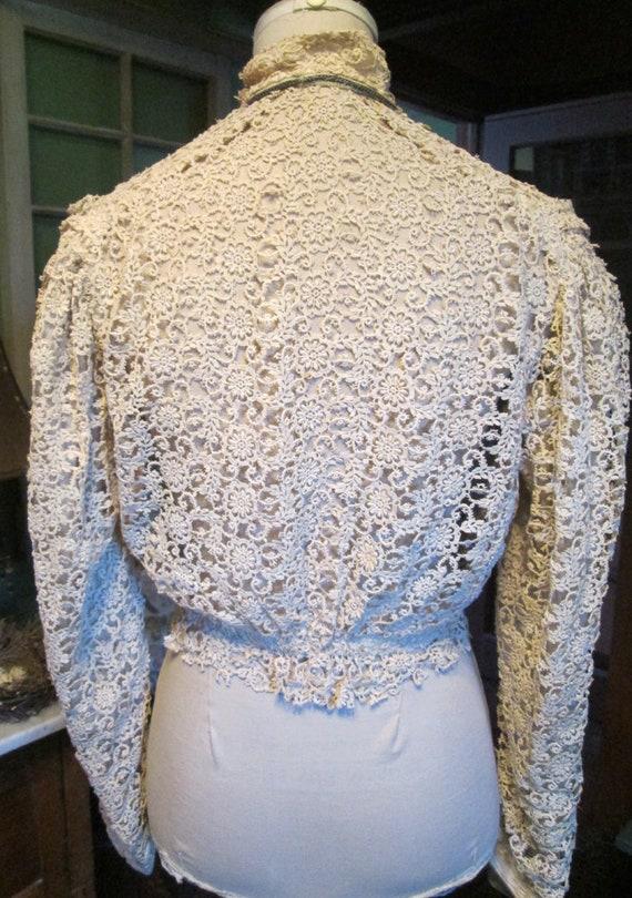 Antique Authentic Edwardian Victorian Lace Blouse… - image 5