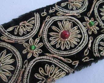 Spectacular Vintage Metallic Embroidered Velvet Trim with Gold Metallic Thread and Glass Beads  - Costume Apparel Eastern Decor