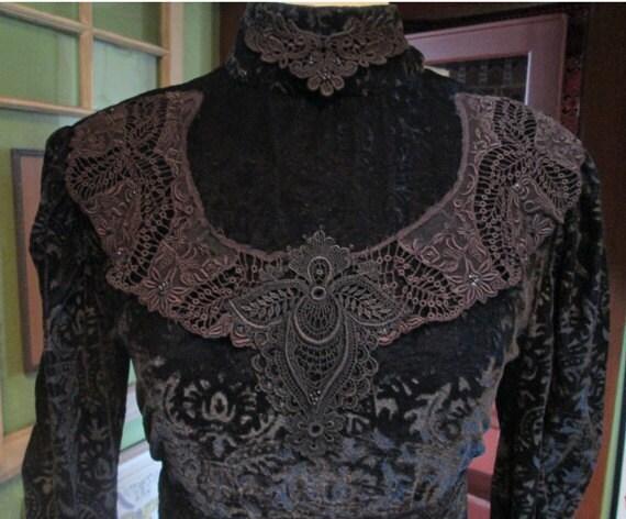 Vintage Handmade Black Burnout Velvet Gown - Gothi