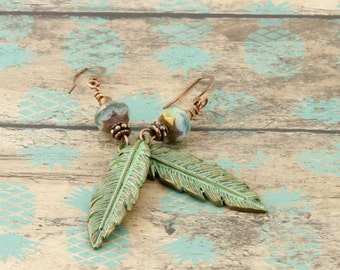 Boho Chic Feather Leaf Drop and Dangle Earrings