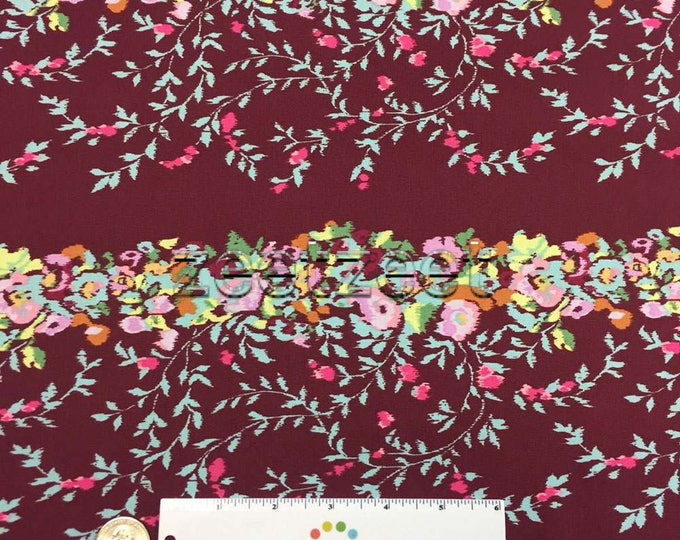 VICTORIANA Port Wine Amy Butler ALCHEMY Collection Cotton Quilt Fabric - by the Yard, Half Yard, or Fat Quarter Red Maroon Burgundy