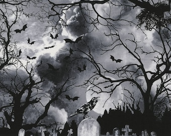 COME SIT A SPELL GRAVEYARD CEMETERY BLACK CATS HALLOWEEN FABRIC