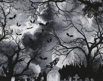 GRAVEYARD Wicked Eve Grey Black Printed Cotton Quilt Fabric by the Yard, Half Yard, or Fat Quarter Fq Halloween Dark Clouds Birds Moon Night