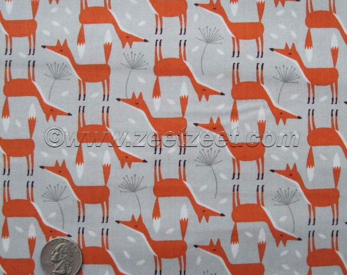Nordic Wooodland GREY FOXES  Cotton Quilt Fabric - by the Half Yard, Quarter Yard, or Fat Quarter Forest Frolic Woods Scandi Fox