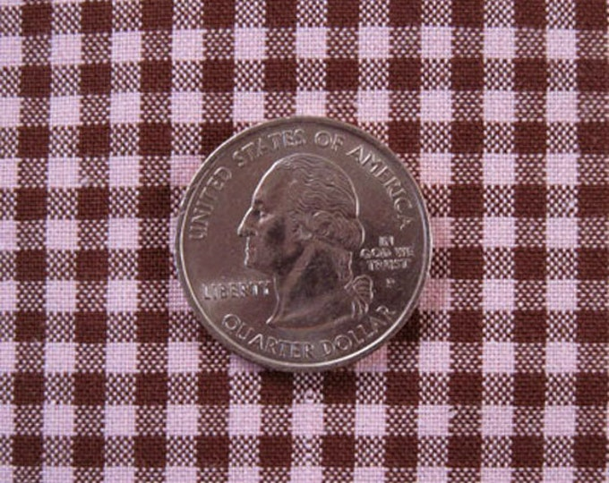 "GINGHAM CHECK 1/8"" Pink & Brown 100% Cotton Fabric - by the Yard, Half Yd, Quarter Yd, FQ (16 other colors)"