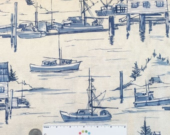 1.25 Yds The COVE Harbor Parchment Blue Nautical Boat Boating Coastal Beach Ocean Water Cotton Quilt Fabric