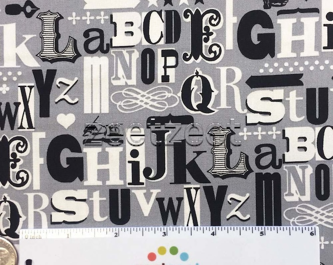 GRAPHIC DESIGN LETTERS Grey Gray Black White Cotton Fabric by the Yard, Half Yd, or Fat Quarter Type Alphabet Font