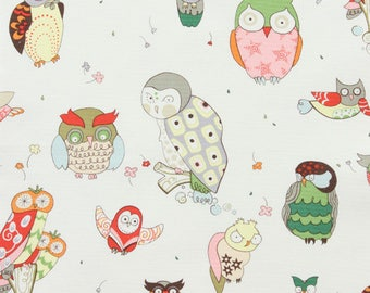 It's a HOOT OWL Fabric Natural Multi by Alexander Henry - Home Dec Weight - By the Yard - RARE and Out of Print
