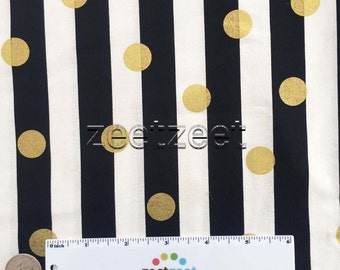 """BLACK & White STRIPE with 3/4"""" GOLD Metallic Polka Dot Quilt Fabric - by the Yard, Half Yard, or Fat Quarter Fq (Stripes are about 2cm wide)"""