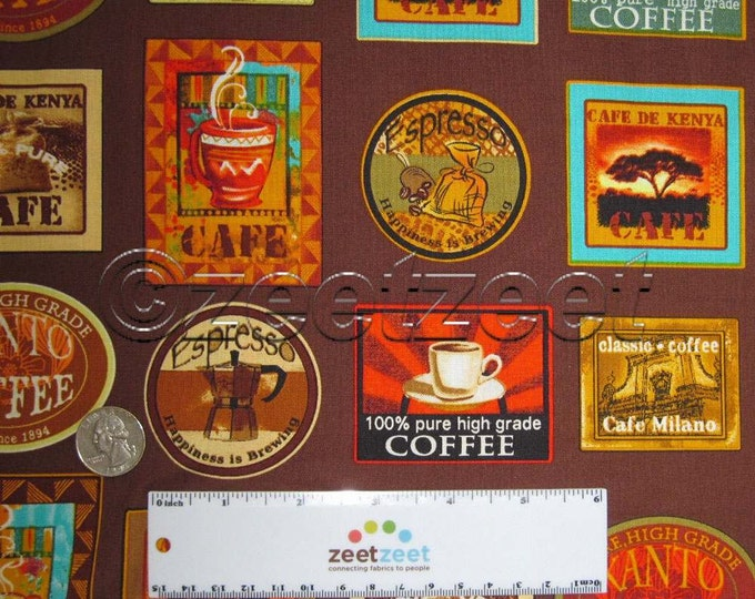 Sale COFFEE LABELS Quilt Fabric by the Yard, Half Yard, or Fat Quarter Fq Jumping Java Beans Espresso Cafe Benartex